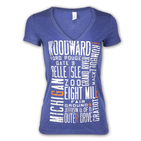 "Detroit Scroll Women's ""Around the Block"" Light Navy Tri-Blend V-Neck Tee"
