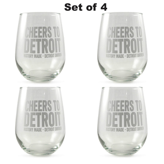 "Detroit Scroll ""Cheers To Detroit"" Stemless Wine Glasses -- Set of 4"