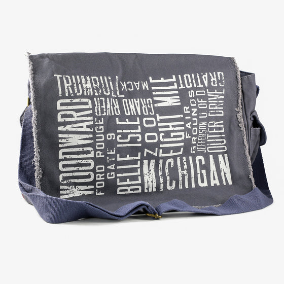 Detroit Scroll Blue Messenger Bag