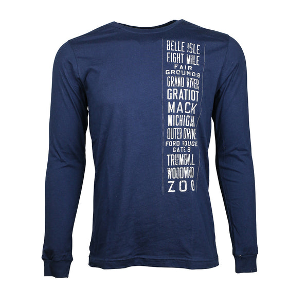 "Detroit Scroll Men's Long Sleeve ""Trolley Tracks"" Navy T-Shirt"