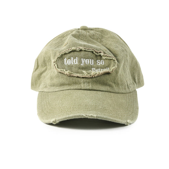 "Detroit Scroll ""Told You So"" Low-Profile Green Khaki Washed Adjustable Cap"