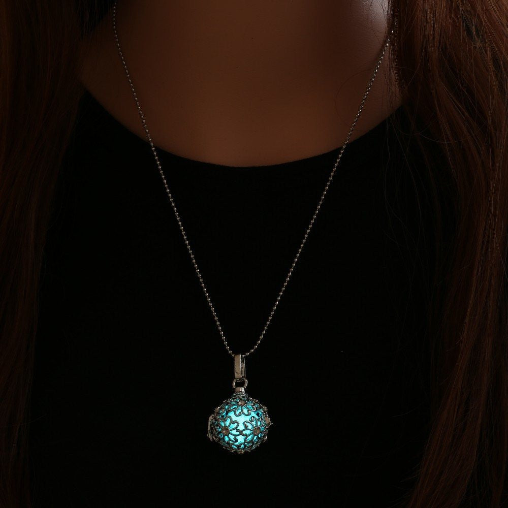 chains lighting in for long color glowing women from jewelry necklaces pendants necklace the pendant vintage item glow dark