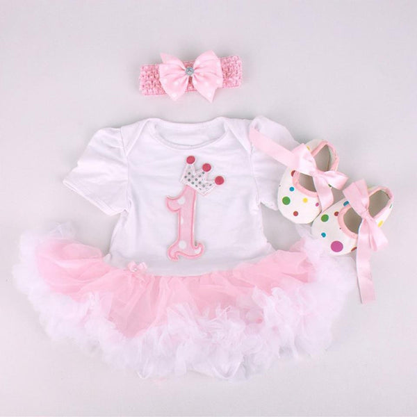 1st Birthday Fashion Set   TuTu Dress, Headband and Shoes