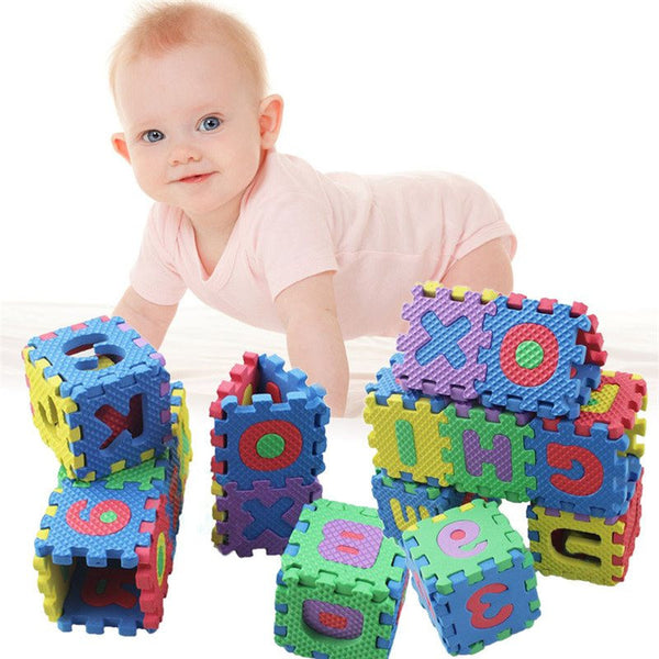 36pcs Alphabet and Numbers Baby Blocks and Mat