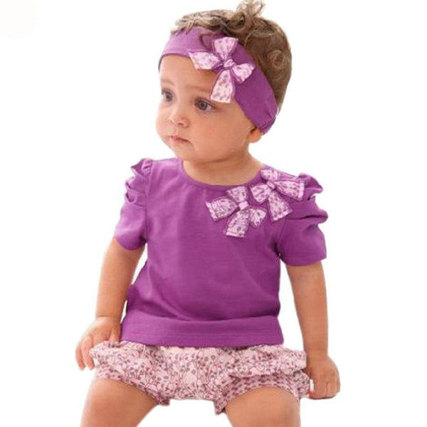 Adorable 3 Piece Set. Purple Headband Shirt and Shorts