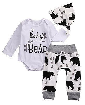 ( Baby Bear ) 3 Piece Set. Onesie/Romper Pants and Hat