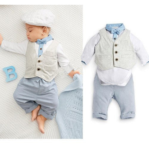 Baby Boys British Style 3 Piece Set. Romper Pants and Vest