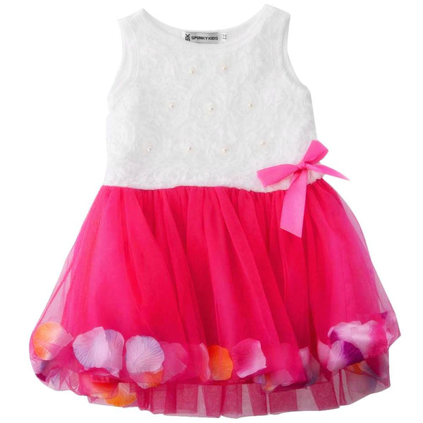 Baby Girls Spring and Summer Dress with Flower Petals