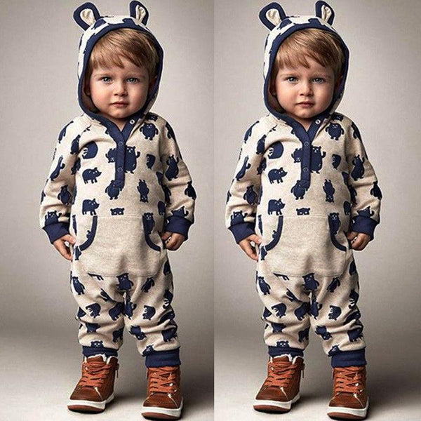Baby Hooded Animal Romper Sleeper with Ears