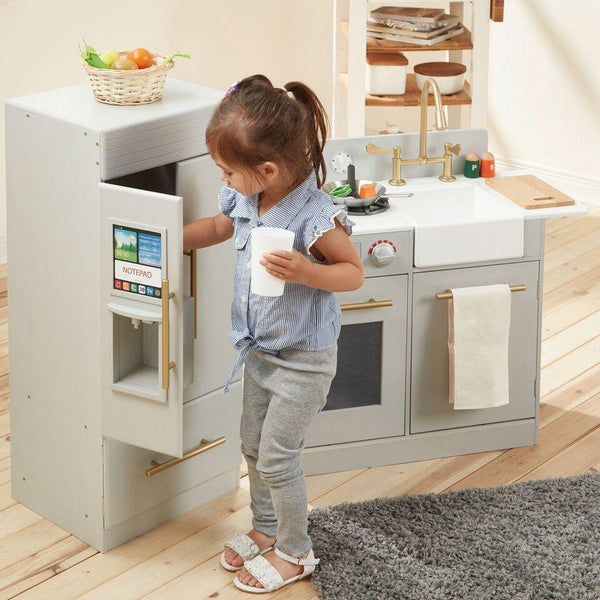 Teamson Kids - Contemporary Modern Kitchen - Grey & Espresso