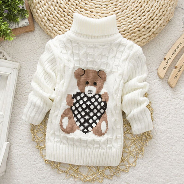 Boys or Girls Teddy Bear Turtle Neck Sweater