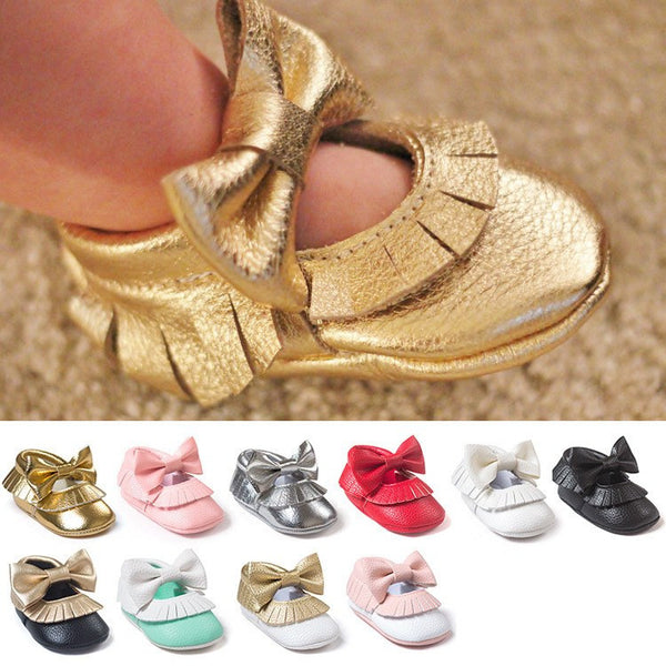 Butterfly-knot Baby Moccasin Shoes