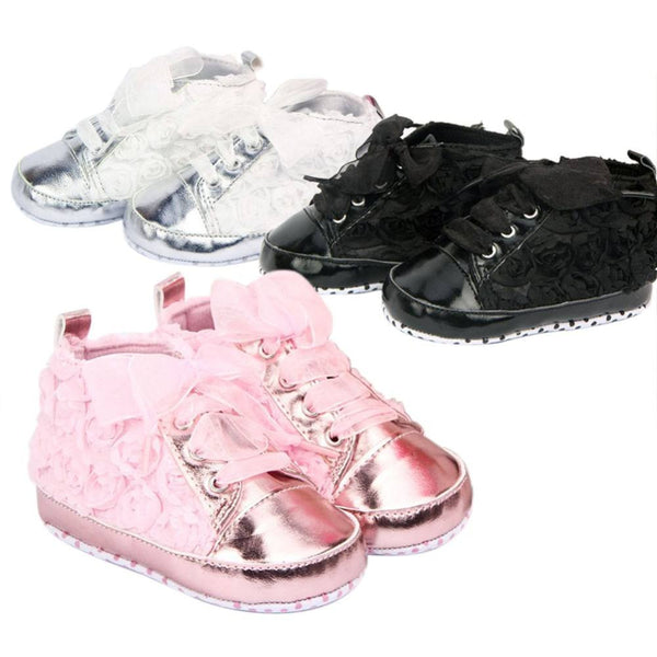 Choice of Baby Girls Satin Flower Shoes