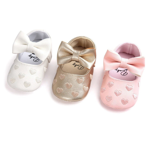 Choice of Baby Girls Textured Heart and More Baby Shoes