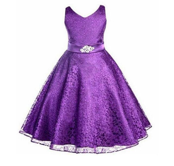 Choice of Girls Lace Floral Sleeveless Dresses. Formal Ball Gown