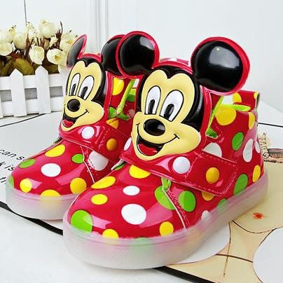 Choice of Polka Dot LED Light Up Mickey Mouse Shoes