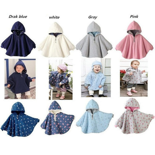 Choice of Reversible Baby Poncho Coats with Hood