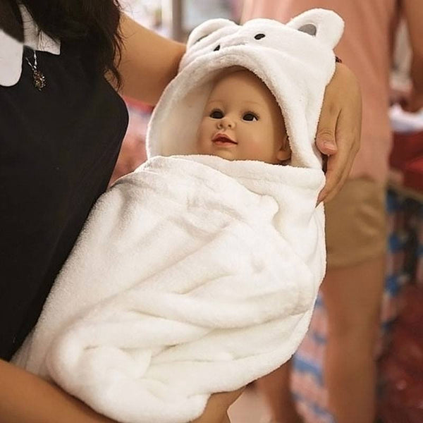 Choice of White or Pink Hooded Soft and Warm Bear Bath Towel Robe Wrap