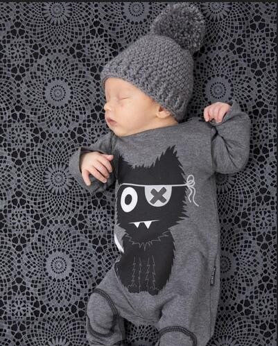 Cute Black and Gray Animal Baby Infant Romper Sleeper