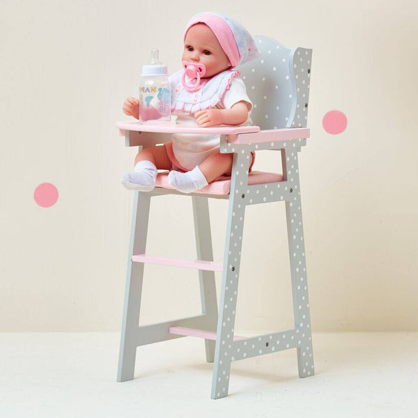 Olivia's Little World - Polka Dots Princess Baby Doll High Chair - Grey