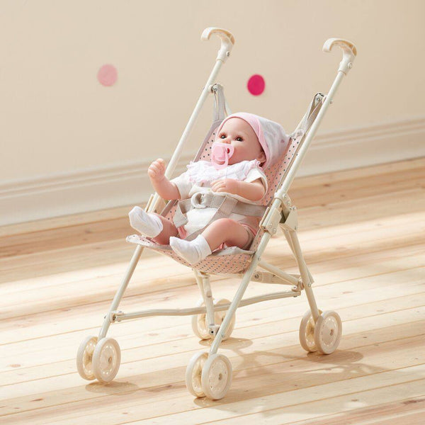 Olivia's Little World - Polka Dots Princess Baby Doll Stroller - Pink & Grey