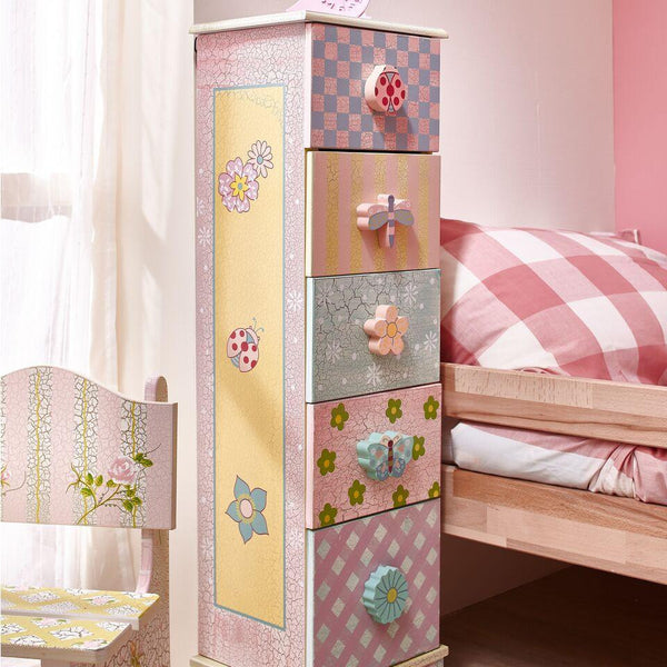 Fantasy Fields - Crackled Rose 5 Drawer Cabinet