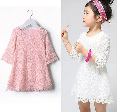 Girls A Line Lace Spring Summer Dress