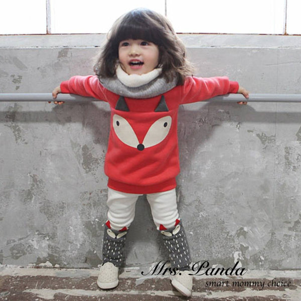 Girls Red Fox Shirt and Pants Set