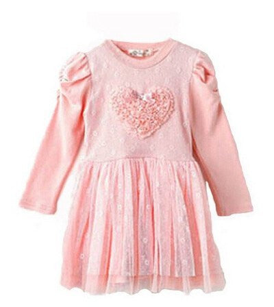 Girls Textured Heart, Long Sleeve Heart Dress