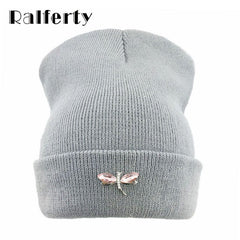 Choice of Womens Winter Beanie Hat with Crystal Dragonfly