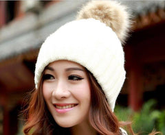 Womens Knit Winter Beanie Hat with Fur. Choice of Colors