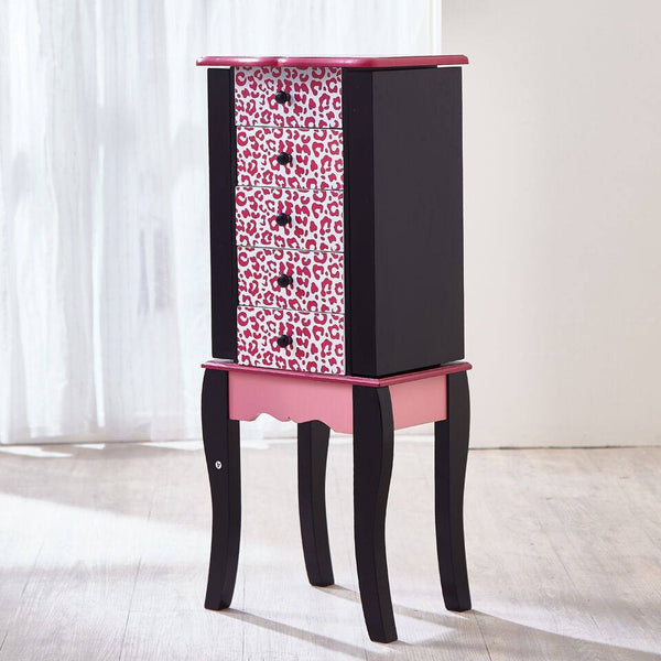 Teamson Kids - Fashion Prints Jewelry Armoire - Leopard (Pink / Black)