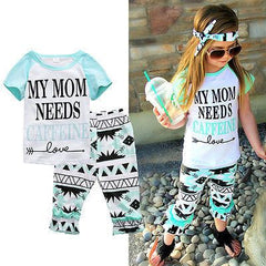 ( My Mom Needs Caffeine ) Girls Shirt and Pants Set