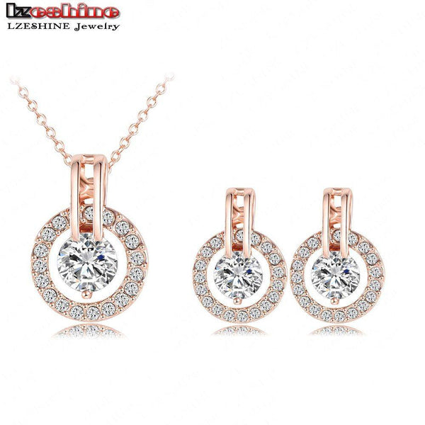 Womens Shimmering Crystal and Gold Necklace and Earring Set