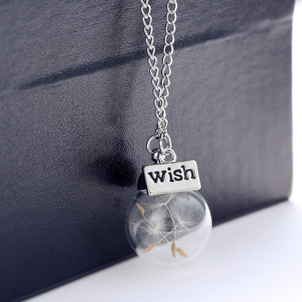 Womens Wish Necklace with Real Dandelion Seeds in Pendant.