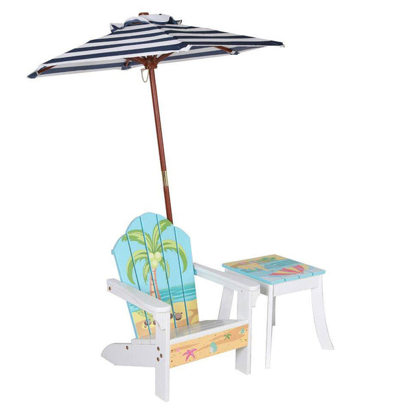 Teamson Kids   Outdoor Kids Table And Adirondack Chair Set With Umbrella    Beach Summer