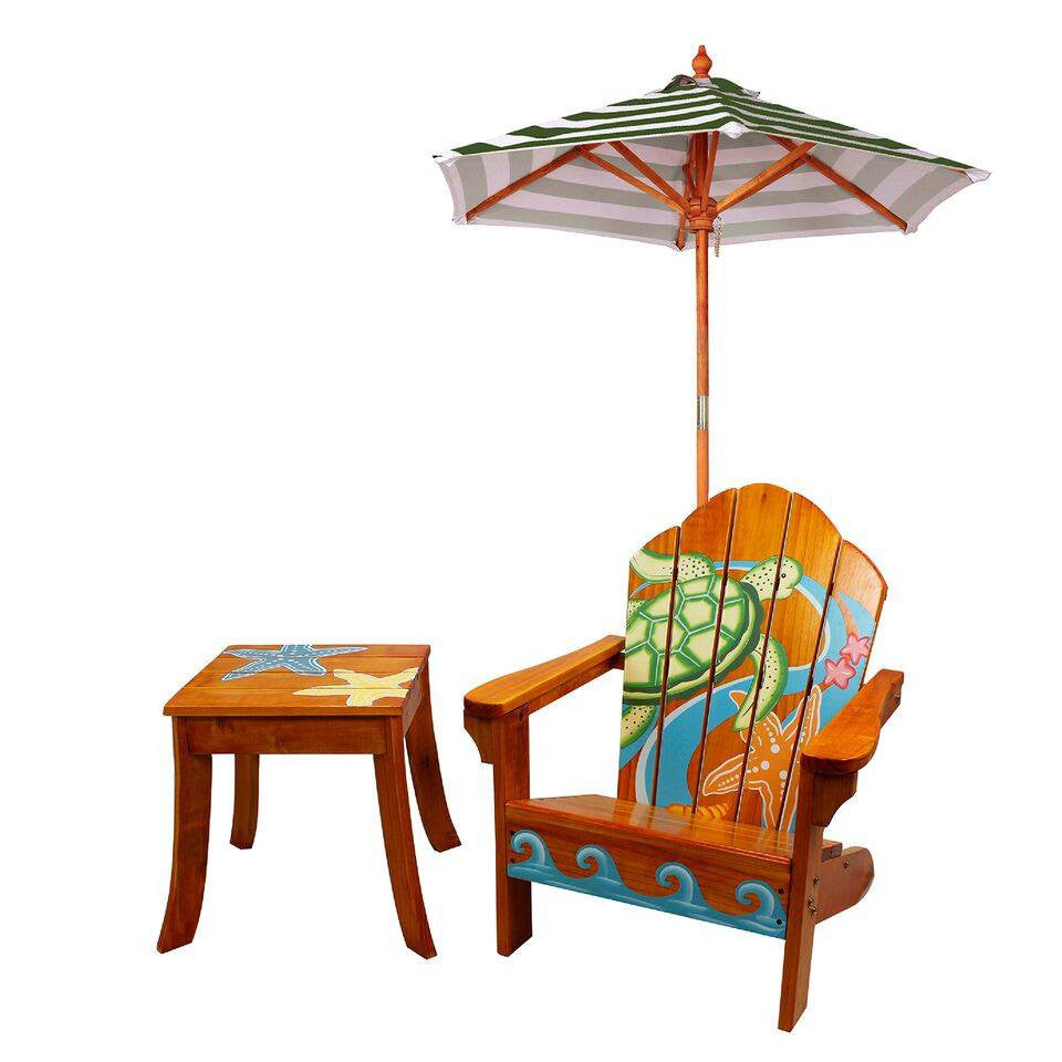 Teamson Kids   Outdoor Kids Table And Adirondack Chair Set With Umbrella    Palm Tree ...