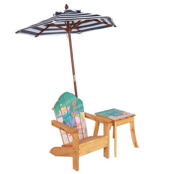 Teamson Kids   Outdoor Kids Table And Adirondack Chair Set With Umbrella    Sea Turtle