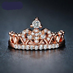 Beautiful CZ Crystal Queen Princess Crown Ring