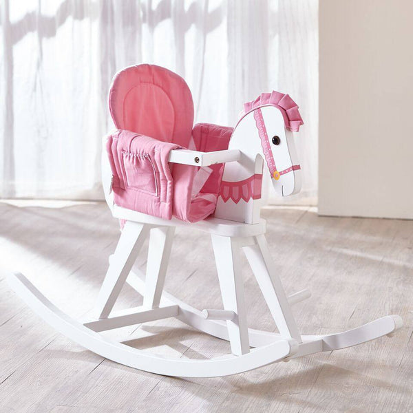 Teamson Kids- Safari White Rocking Horse with Pink Pad