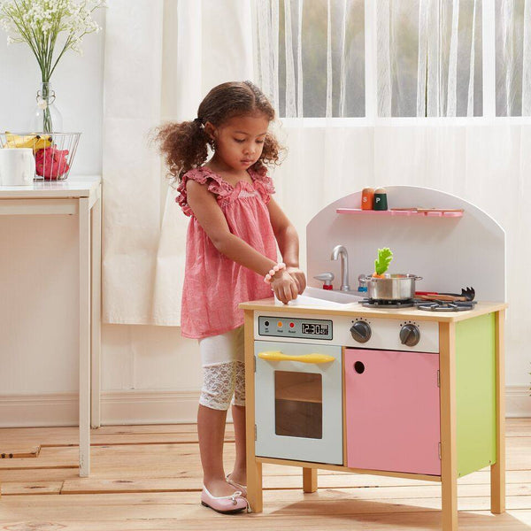 Teamson Kids - Pink Play Kitchen with Dual Doors