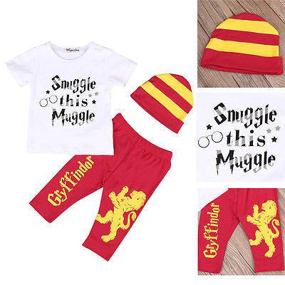 Snuggle This Muggle 3 Piece Set with Gryffindor Pants.