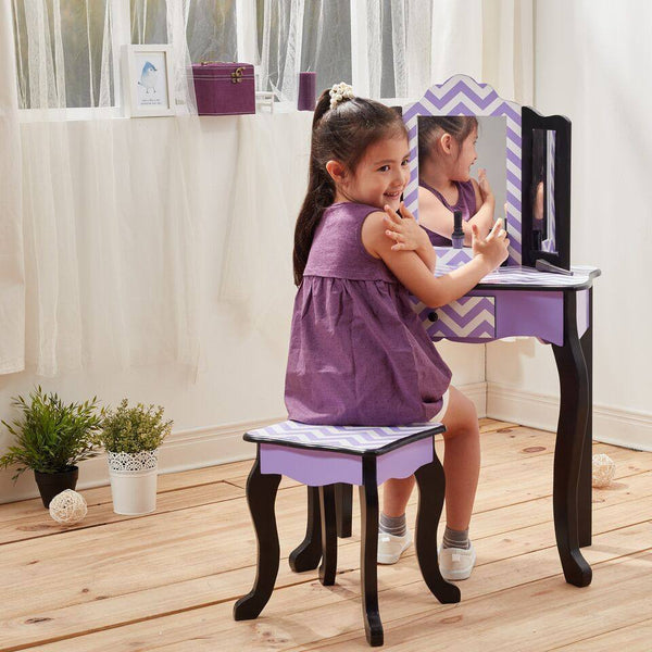 Teamson Kids - Fashion Prints Purple Chevron Vanity Table & Stool Set