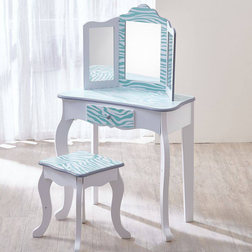 Teamson Kids   Fashion Prints Vanity Table U0026 Stool Set With Mirror   Zebra  (Aqua ...