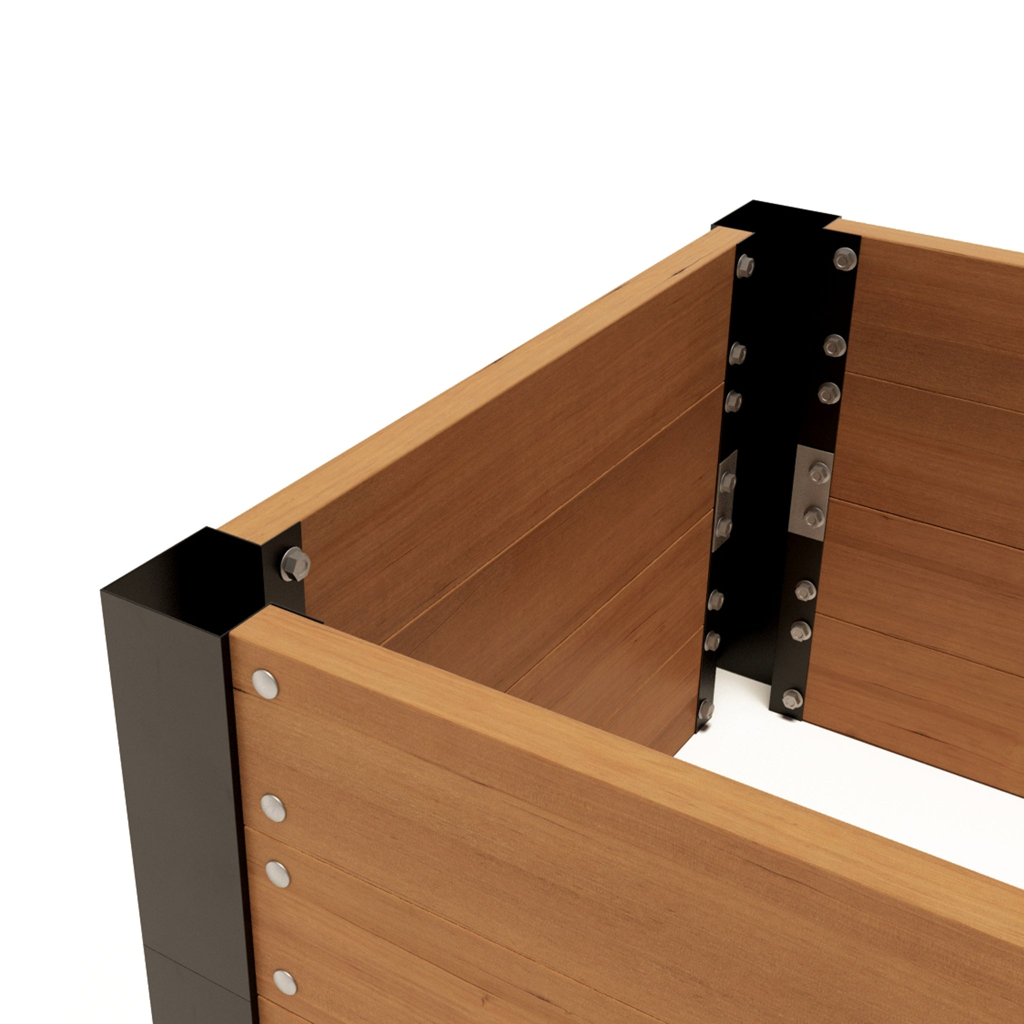 "LIFTED EARTH GARDEN BOX HARDWARE - 22"" CORNER BRACKET KIT WITHOUT SPIKES"