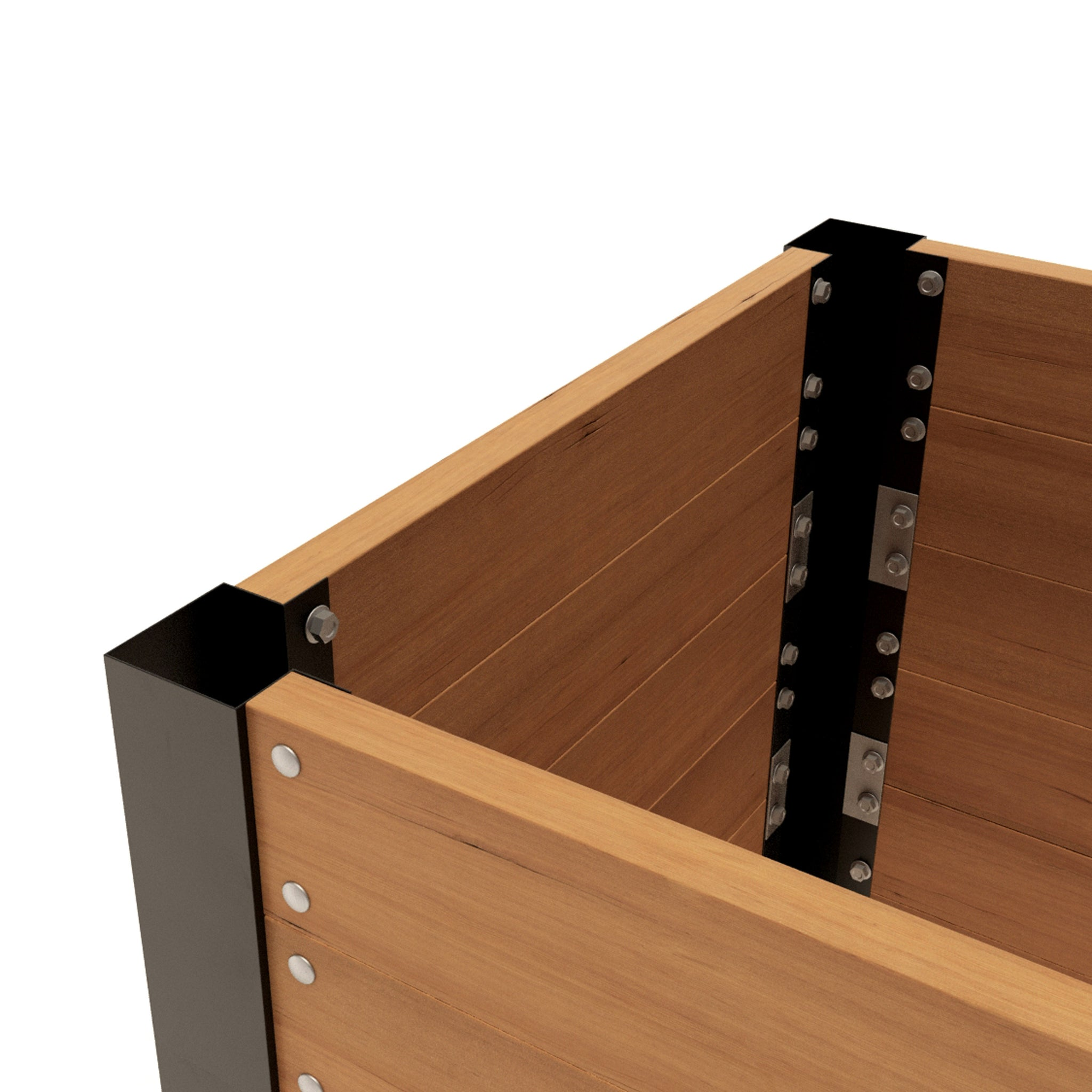 "LIFTED EARTH GARDEN BOX HARDWARE - 33"" CORNER BRACKET KIT WITHOUT SPIKES"