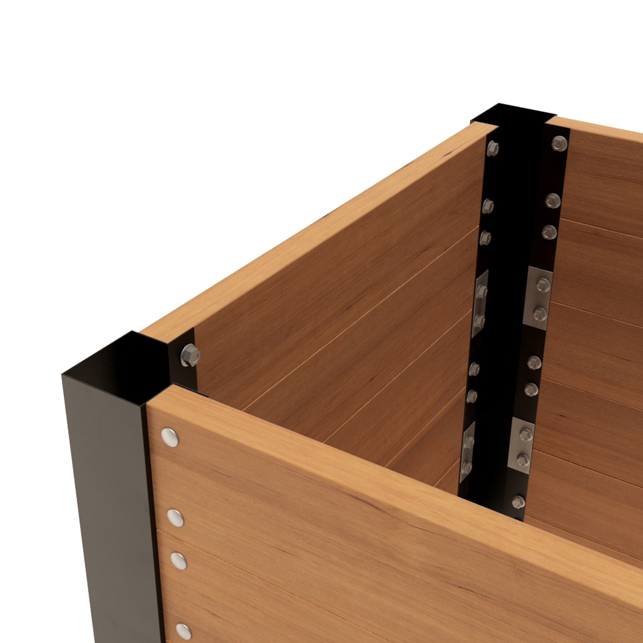 "LIFTED EARTH GARDEN BOX HARDWARE - 33"" CORNER BRACKET KIT WITH SPIKES"