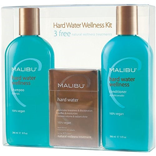 Malibu Hard Water Wellness Treatment Kit, 9 oz Shampoo, 9 oz Conditioner and 0.17 Hard Water Treatment - BEAUTY IT IS