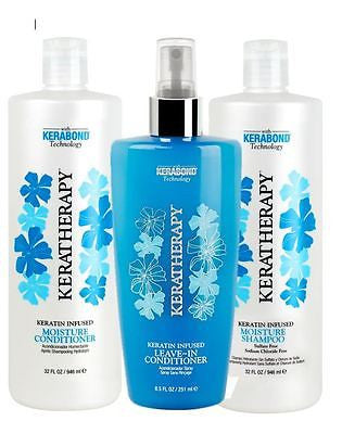 Keratin Keratherapy Moisture Shampoo & Conditioner 32 oz ea + Leave-In Condtioner 8 oz - BEAUTY IT IS