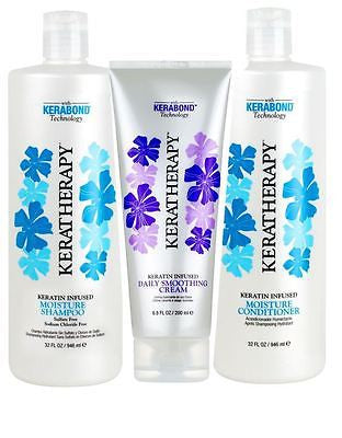 Keratin Keratherapy Moisture Shamp & Conditioner 32 oz ea + Daily Smooth Cream 6.8 oz - BEAUTY IT IS